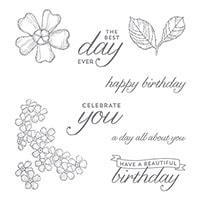 Birthday Blossoms Wood-Mount Stamp Set